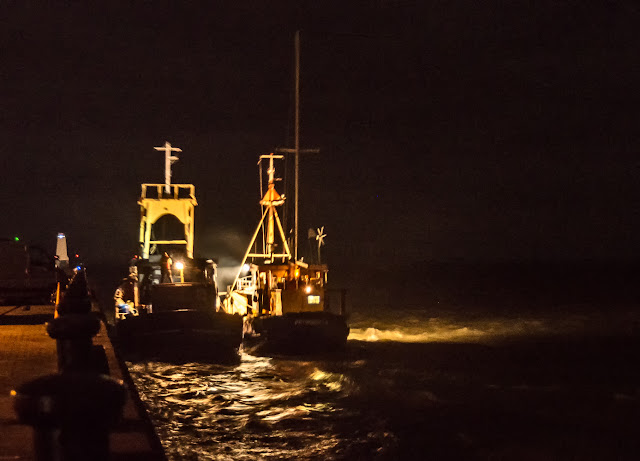Photo of the former trawler beside Maryport Pier on its way out into the Solway Firth