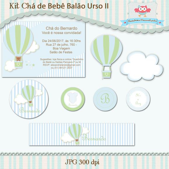 verde, azul, chá, bebê, balão, urso, convite, nuvem, tag, topper, rótulo, display