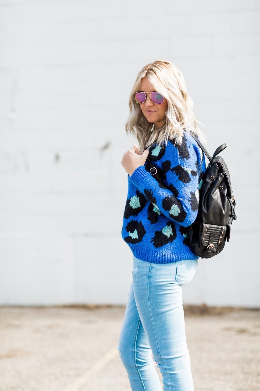Utah Fashion Blogger, Black Backpack, Blue Sweater
