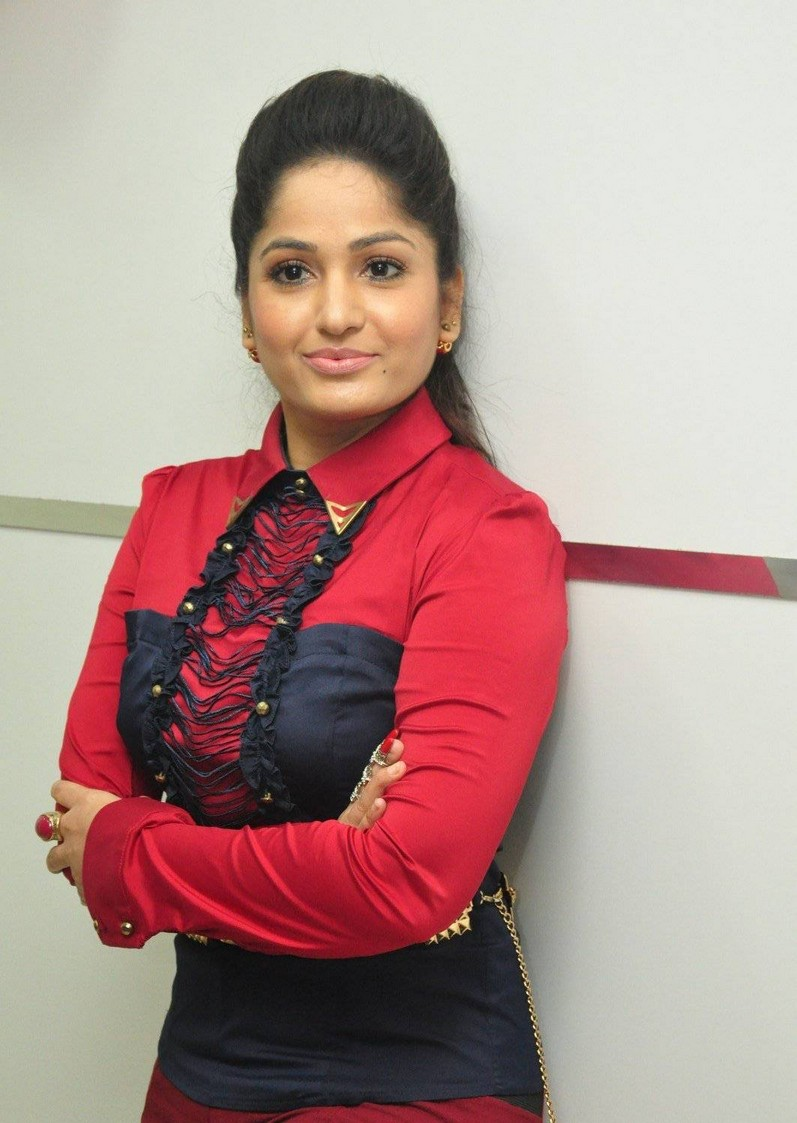 Glamorous Madhavi Latha Cute Photos In Red Dress