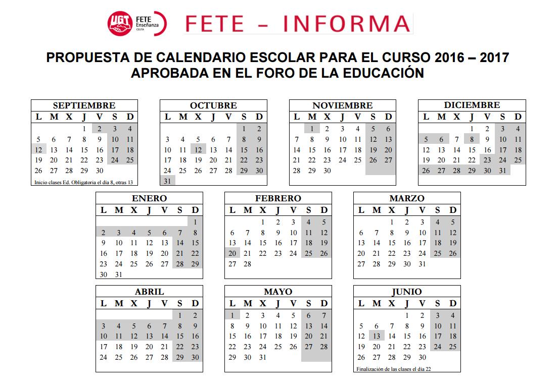 ... aprueba por unanimidad la propuesta de Calendario Escolar 2016/2017