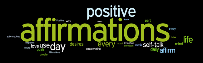 AFFIRMING affirmation tag cloud created by Wordle