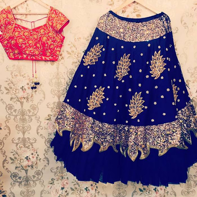 Blue Glitter Lehenga by Mugdha arts