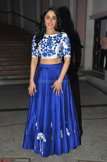 Regina Casandra in Stunning White Embroidery Crop Top Choli and Blue Ghagra at Santosham awards 2017 curtain raiser press meet 02.08.2017 011.JPG