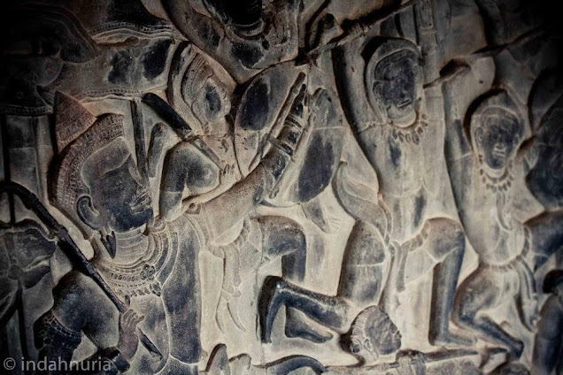 Bas relief at Angkor Wat Temple, Siem Reap, Cambodia