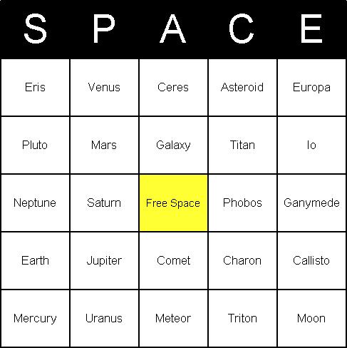 Image of Astronomy Bingo Card