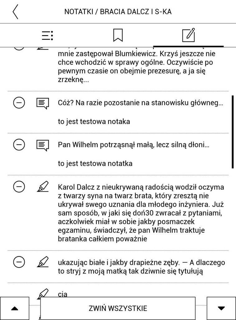 PocketBook Touch HD 3 – lista dodanych zaznaczeń