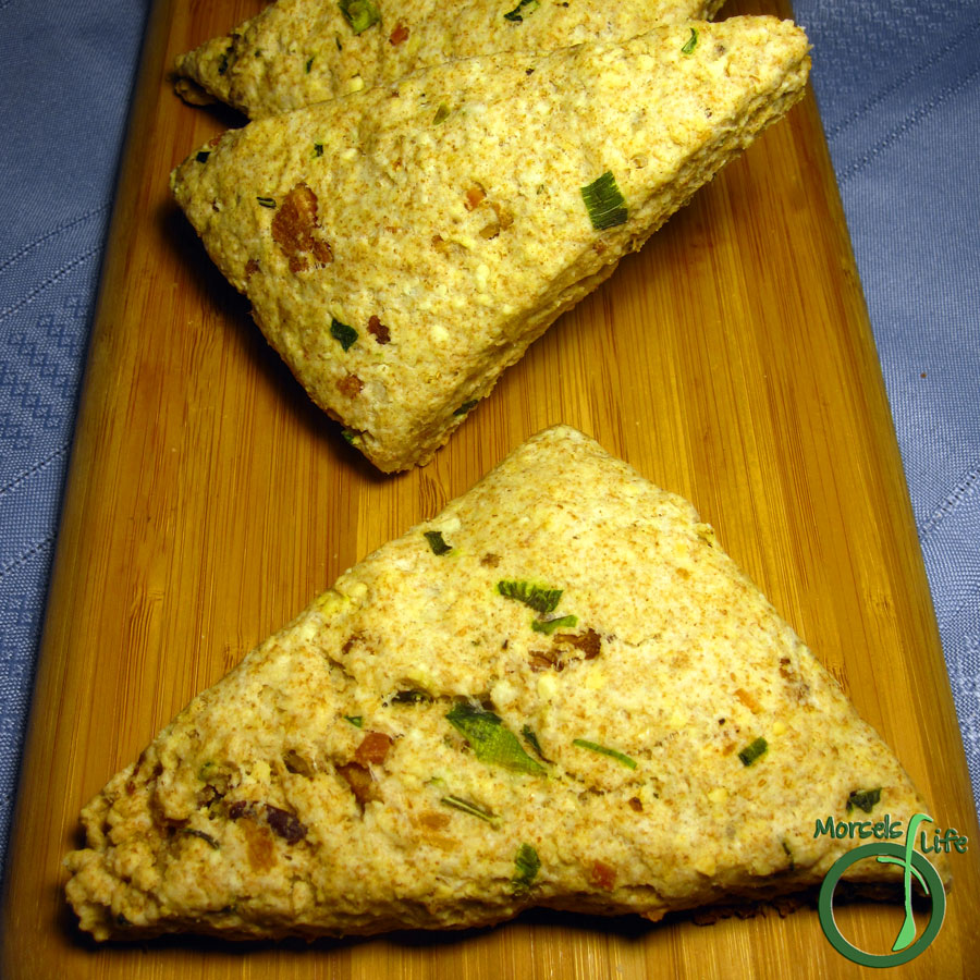 Morsels of Life - Bacon Parmesan Scones - Savory Bacon Parmesan Scones - a buttery treat with the heartiness of bacon nestled among the peppery notes of green onion and warm, embracing flavors of cheese and rosemary.