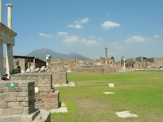 The ruins of Pompeii, with Vesuvius in the distance as a constant reminder of the Roman city's history