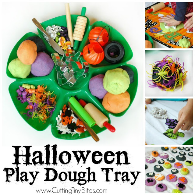 Halloween play dough tray. Great open ended fine motor activity for preschool or elementary.