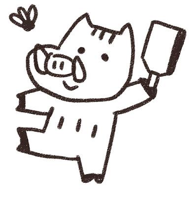 羽つきをする猪のイラスト(亥年)モノクロ線画