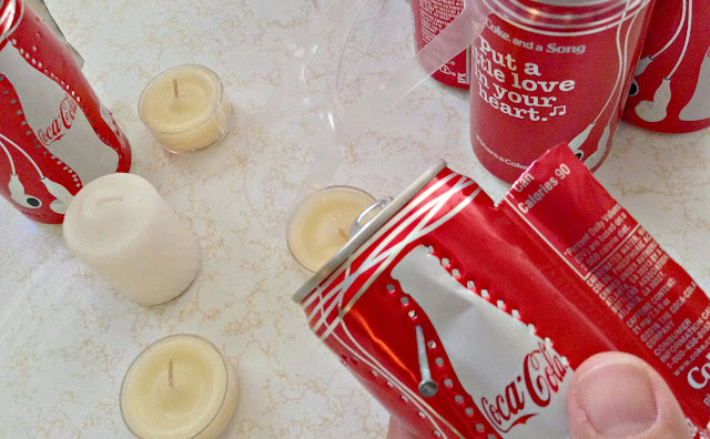 Close up of DIY Mini Can Lanterns Coca-Cola Mini Cans
