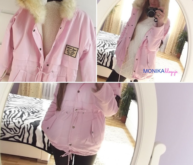 Zipper Embellished Fleece Inside Military Pink Coat