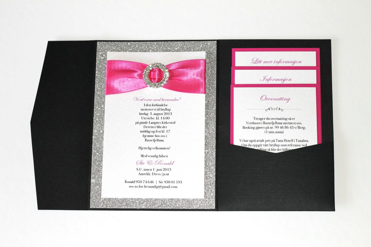 Silver Glitter Hot Pink And Black Wedding Invitations