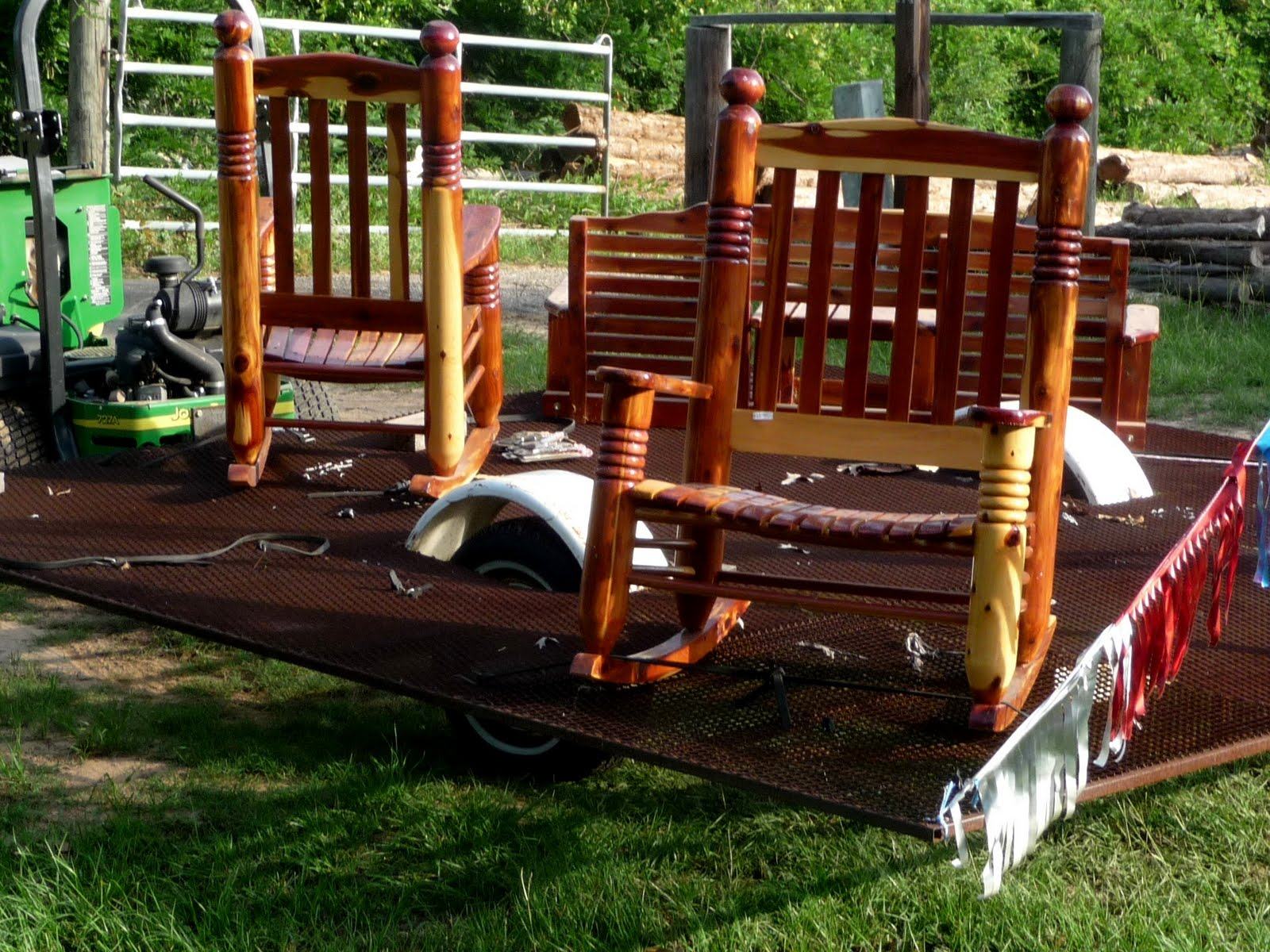 Old Fashioned Rocking Chairs White Wooden Folding Seniors Walking Across America Day 135 Elkhart Alto Texas