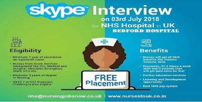 Free Recruitment to Bedford Hospital NHS Trust In UK - Skype Interview on 03rd July 2018
