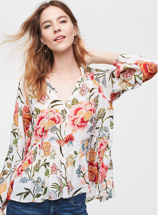 Loft Poppy Bloom Smocked Shirt