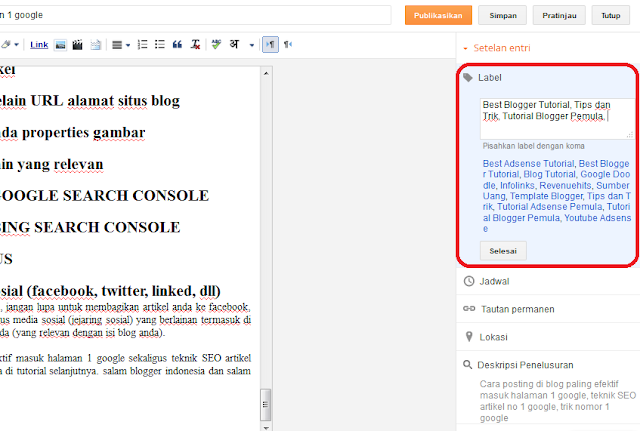Cara posting di blog label