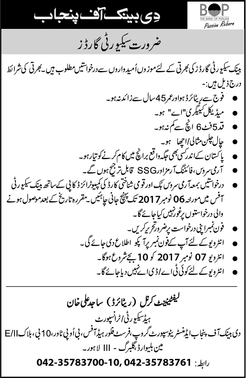 BOP Jobs in The Bank of Punjab October 2017.