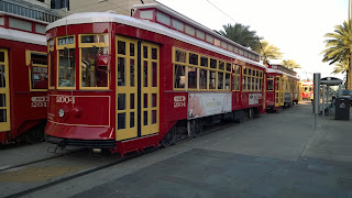 New Orleans Red Streetcars