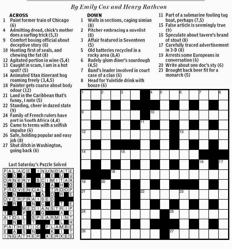 National Post Cryptic Crossword Forum: Saturday, October ...
