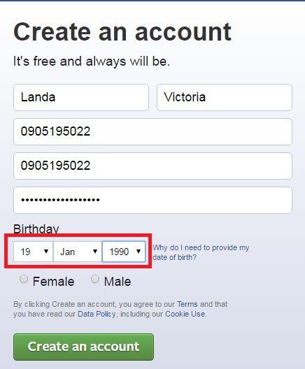 choose birthday create facebook acount