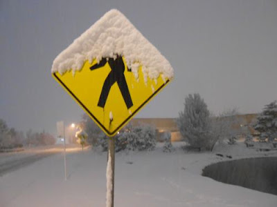 right steps, missing steps, snow, pedestrian sign,
