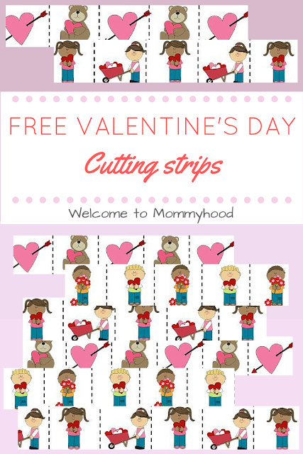 Free Valentine's Day Cutting Strips for practice using scissors for kids by Welcome to Mommyhood, #montessori, #practicallife, #freeprintables, #valentinesdayactivities, #preschoolactivities