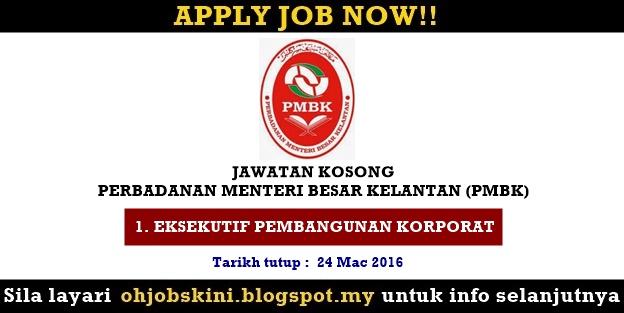 Jawatan Kosong Perbadanan Menteri Besar Kelantan (PMBK)
