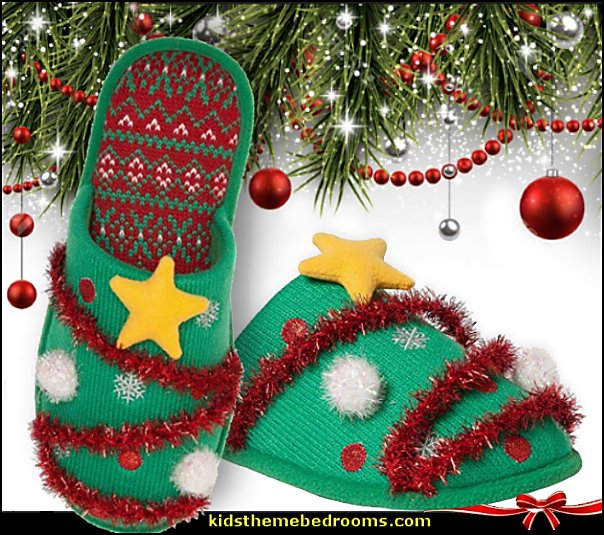 Tinsel Tree Slide Slippers  ugly sweaters - Christmas ugly sweaters  - decorate yourself - womens ugly sweaters - ugly mens sweaters - embellished ugly sweaters - fun sweaters - novelty sweaters - Christmas party sweaters - quirky party sweaters - Christmas party hats - ugly sweater party decorations - ugly Christmas slippers - peppermint candy cane Leggings -