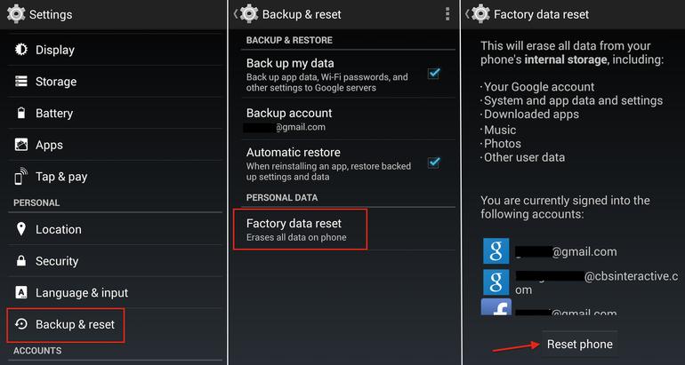 Hard Reset  LG Optimus L7 P705 using menu