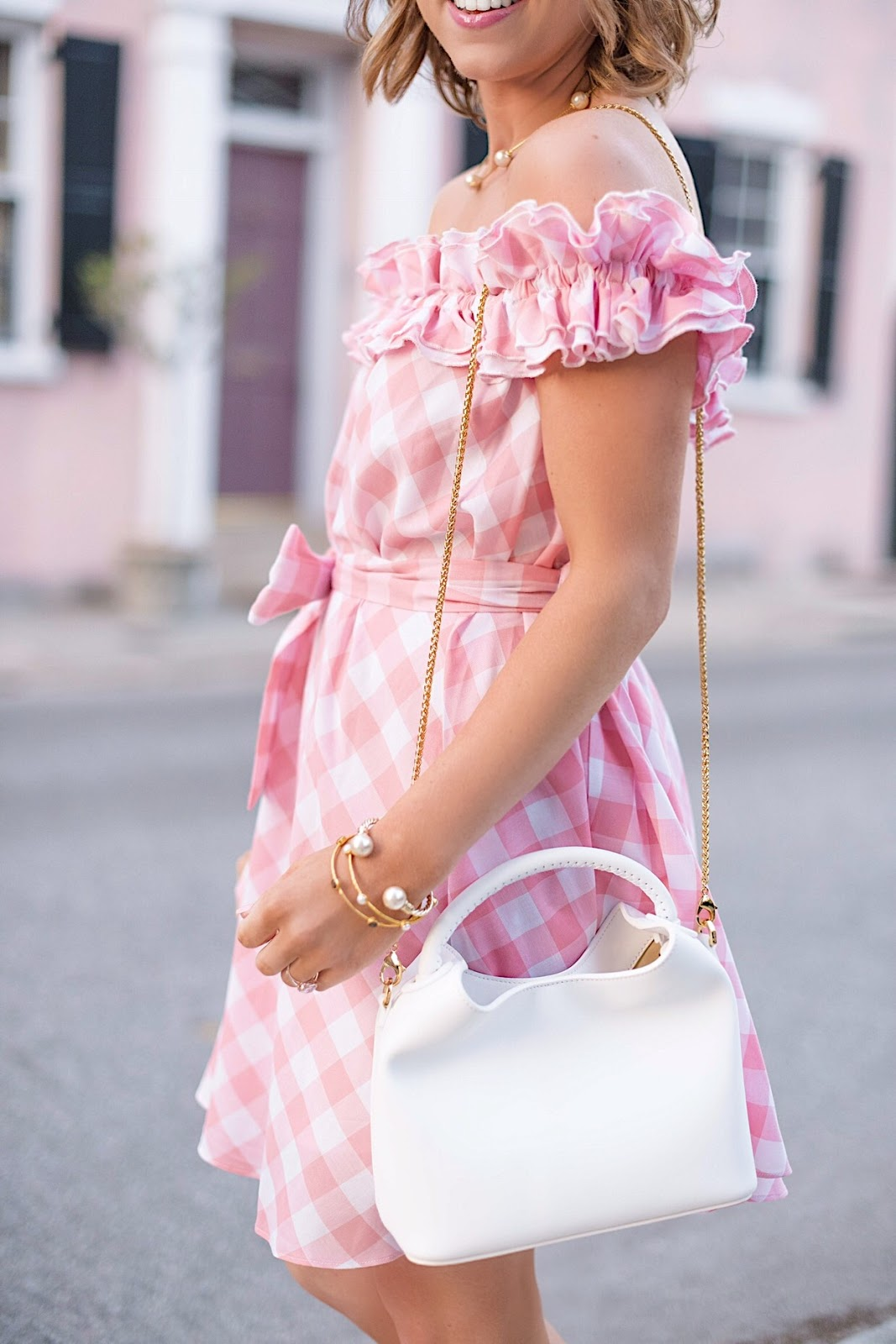 Pink Gingham Ruffle OTS Dress - Something Delightful Blog