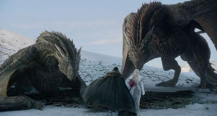 Juego de Tronos 8x01 - Jon y Daenerys con sus dragones