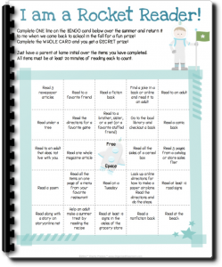 Want your own FREE copy of Rocket Reader Summer Reading BINGO Card?