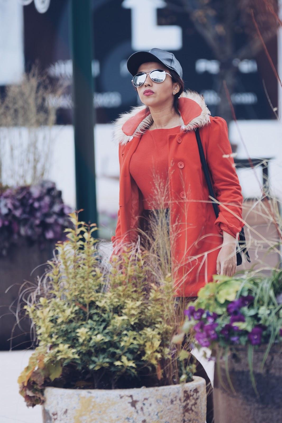 Styling a red coat by mariestilo- Wearing:  Red Coat: LightInTheBox  Mini Skirt: Choies