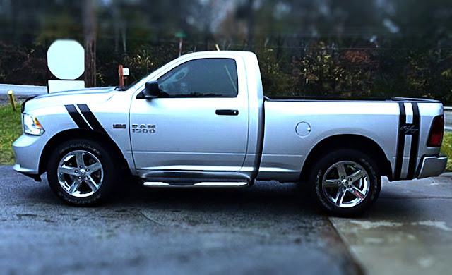 silver-dodge-ram-with-black-stripe-graphic-in front-and rear-side
