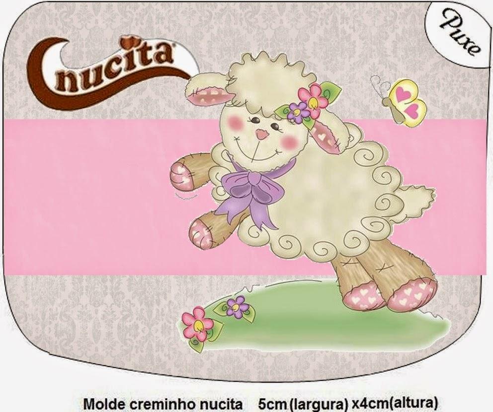 Etiqueta Nucita de Ovejita en Fondo Rosa para imprimir gratis.