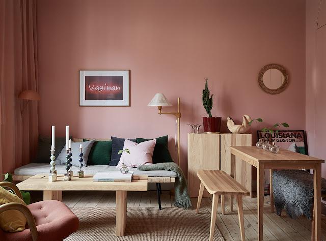 Roz pastel și gri închis în amenajarea unei garsoniere de 29 m²