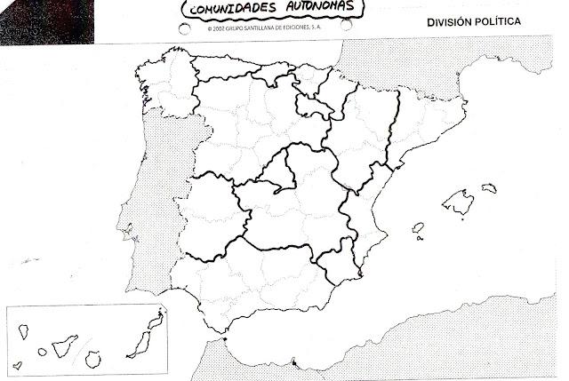 Mapa Mudo Comunidades Autonomas España Para Imprimir.Escuela Bloguera Comunidades Autonomas