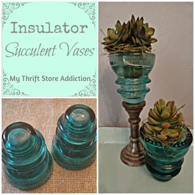 Friday's Find Insulators to Succulent Vases  mythriftstoreaddiction.blogspot.com  Repurpose vintage insulators as vases!