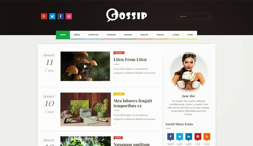 Gossip Magazine Blogger Template 2016