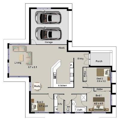 Desain Denah Rumah Sederhana dengan 3 Kamar Tidur
