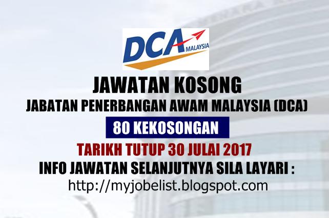 Jawatan Kosong di Jabatan Penerbangan Awam Malaysia (DCA) Julai 2017
