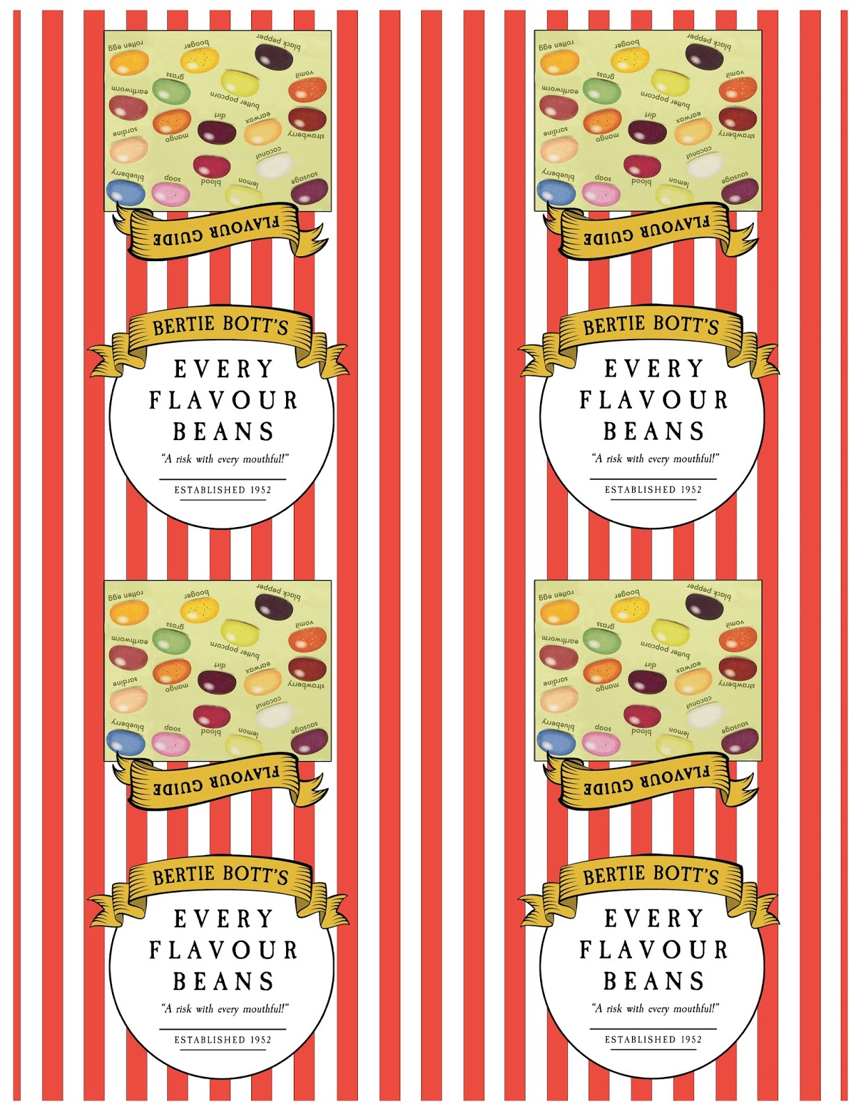 Free Downloadable Label For Bertie Bott S Jelly Beans