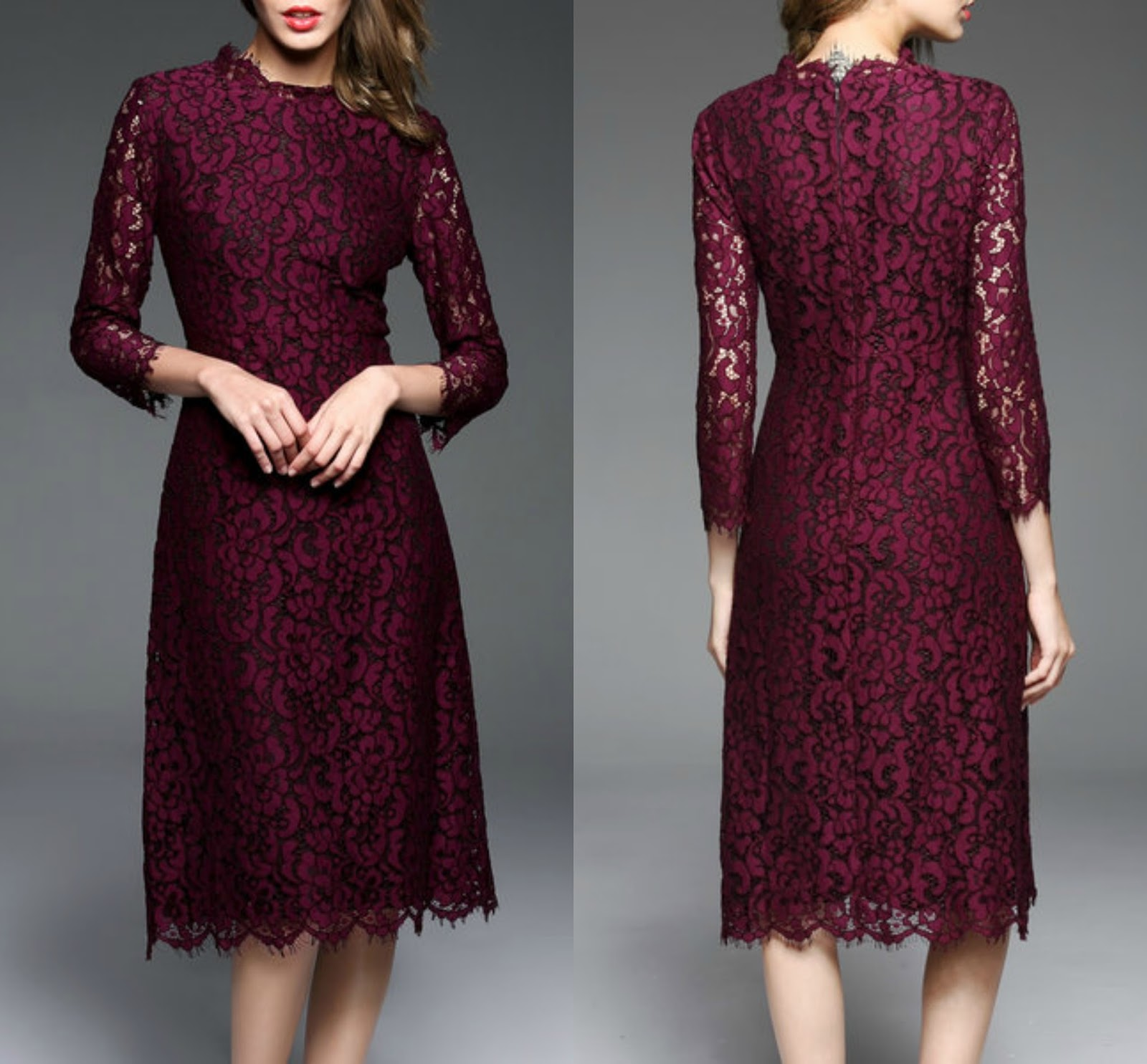 Burgundy A-line Guipure Lace Long Sleeve Midi Dress