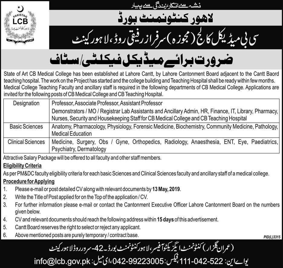 Cantonment Board Lahore Jobs 2019 CB Medical College