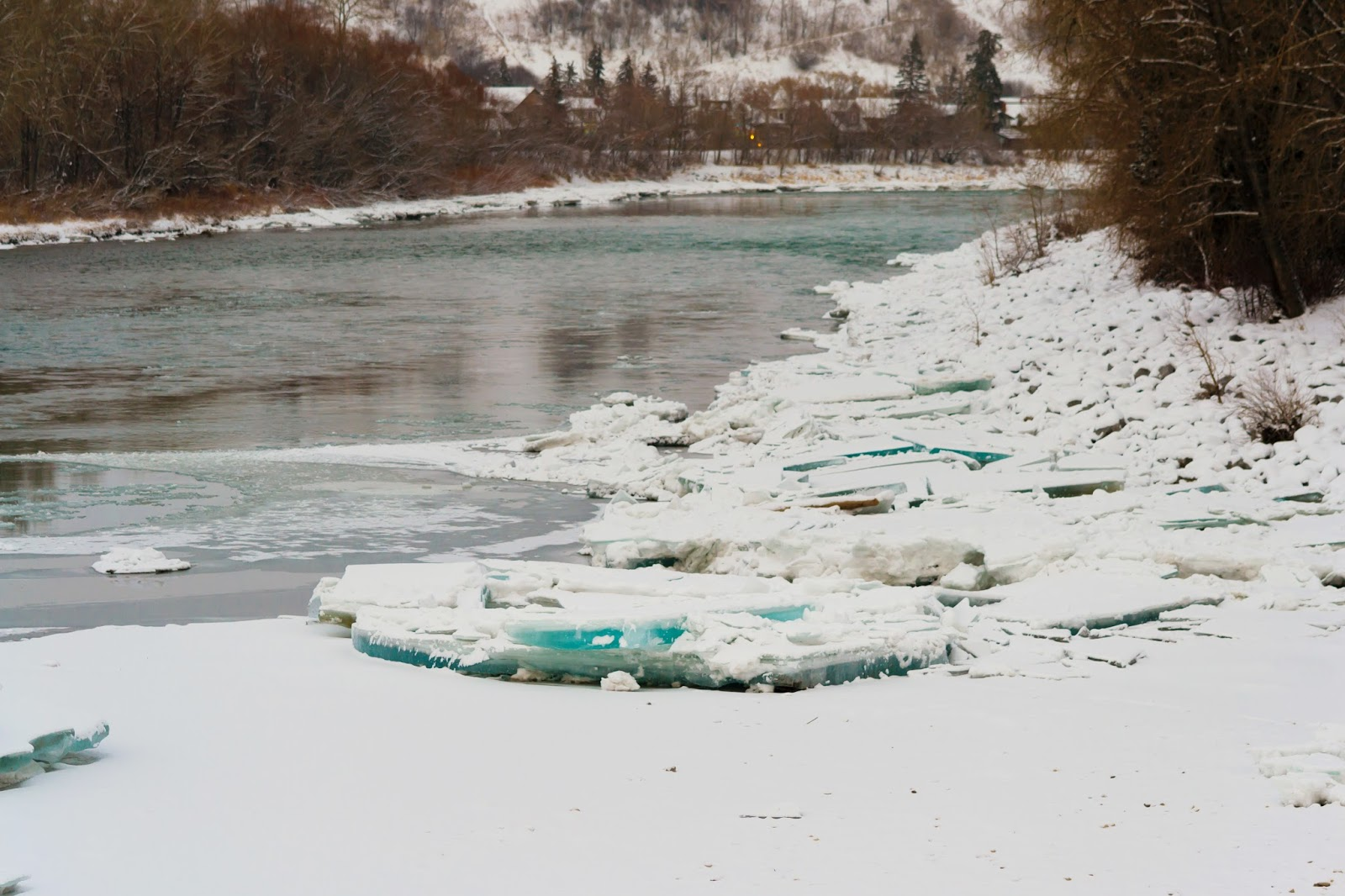 Calgary River with floating glacier pieces