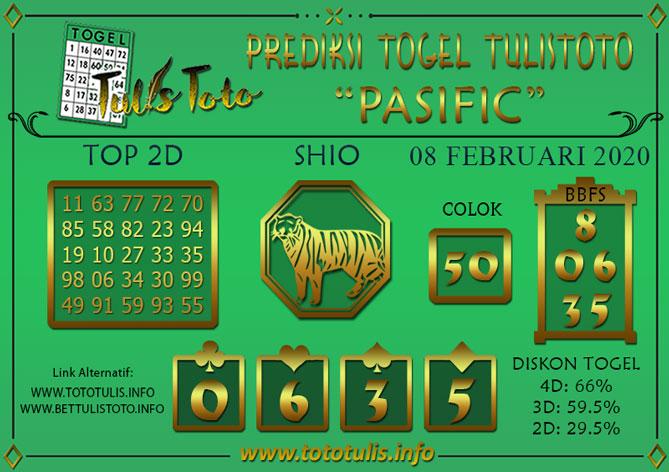 Prediksi Togel PASIFIC TULISTOTO 08 FEBRUARI 2020