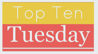 Image of Top Ten Tuesday in Yellow and Orange on Top Ten Tuesday Blog Post of Editor and Writing Consultant Megan Easley-Walsh of Extra Ink Edits