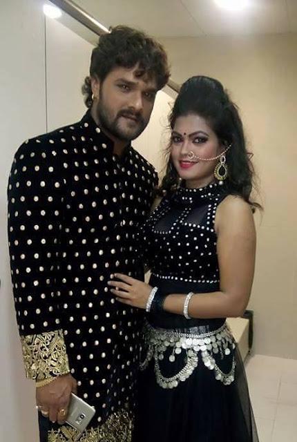 Poonam Dubey with Khesari Lal Yadav Photo